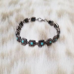 Vintage .925 Sterling Silver Turquoise Bracelet